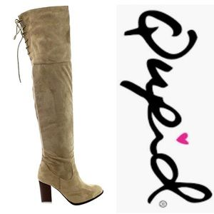Lace-Up Back Stretchy Over-The-Knee Boots (NWOT)